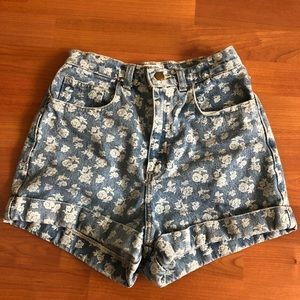 American Apparel Floral Print High Waisted Shorts
